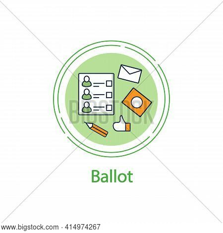 Ballot Concept Line Icon. Empty Voting Form Or Checklist. Choice, Vote Concept. Democracy. Parliamen