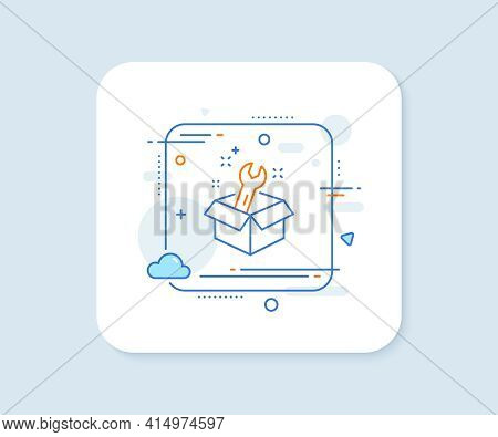 Spanner Tool Line Icon. Abstract Square Vector Button. Repair Service Box Sign. Fix Instruments Symb