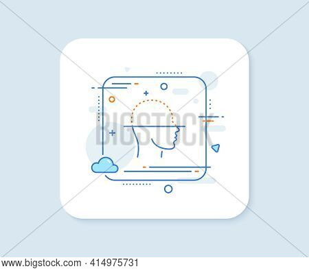 Face Scanning Line Icon. Abstract Square Vector Button. Facial Scan Sign. Head Recognition Symbol. F