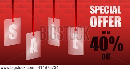 Sale Special Offer. Translucent Glass Or Plastic Cards With Letters On Red Silk Ribbons With Brickwo