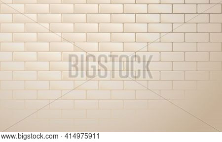 Light Beige Brickwork Abstract Background. Texture Of Bricks. Template Design For Web Banners. Vecto