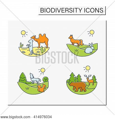 Biodiversity Color Icons Set. Consists Of Desert, Grassland, Temperate Forest, Taiga Forest Ecosyste