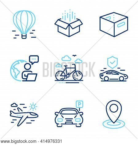 Transportation Icons Set. Included Icon As Open Box, Air Balloon, Location Signs. Parking, Bike Rent