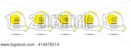 Court Building, House Security And Lighthouse Line Icons Set. Timeline Process Infograph. Buildings