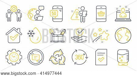 Set Of Technology Icons, Such As Employees Teamwork, Water Cooler, Creativity Concept Symbols. Recyc