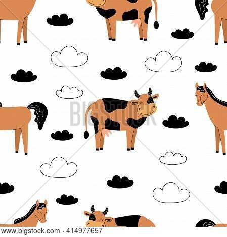 Seamless Pattern With Cute Farm Animals On A White Background. Cow And Horse. Flat Vector Illustrati