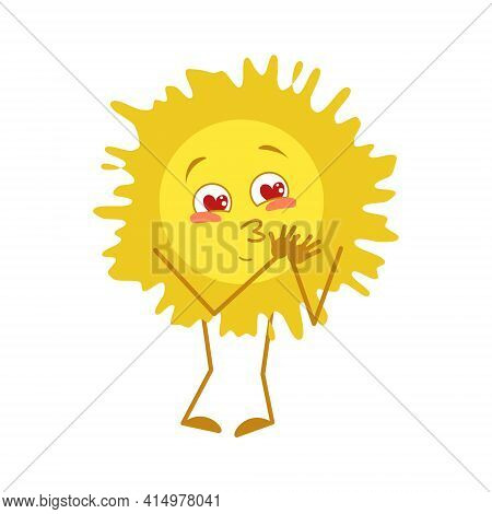 Cute Sun Character Falls In Love With Eyes Hearts, Face, Arms And Legs. Symbol Of Spring, Summer And