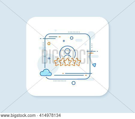 Business Rank Line Icon. Abstract Square Vector Button. Employee Nomination Sign. Human Rating Symbo
