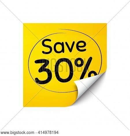 Save 30 Percent Off. Sticker Note With Offer Message. Sale Discount Offer Price Sign. Special Offer