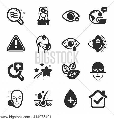 Set Of Healthcare Icons, Such As Sick Man, Serum Oil, Medical Mask Symbols. Myopia, Conjunctivitis E