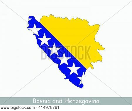 Bosnia And Herzegovina Map Flag. Map Of Bosnia And Herzegovina With National Flag Isolated On White