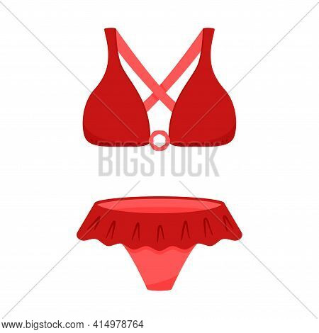 Red Two-piece Swimsuit. Bra And Underpants. Women's Summer, Beachwear For Sunbathing And Swimming. V