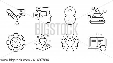 Messages, Chemistry Pipette And Swipe Up Line Icons Set. Time Management, Star And Pyramid Chart Sig