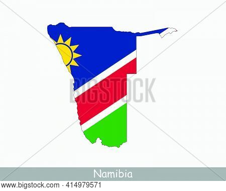 Namibia Flag Map. Map Of The Republic Of Namibia With The Namibian National Flag Isolated On White B