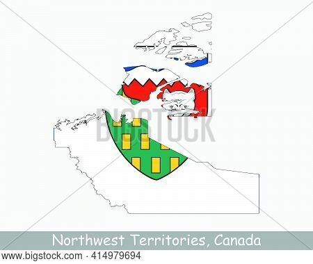 Northwest Territories Map Flag. Map Of Nt, Canada With Flag Isolated On White Background. Canadian F