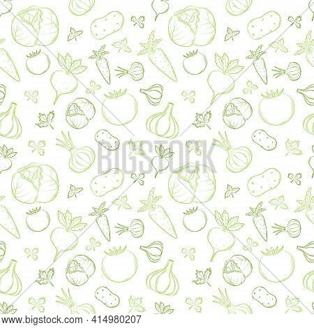Seamless Pattern With Vegetables In A Linear, Hand-drawn Style. Summer Vegetables. Outline Elements.
