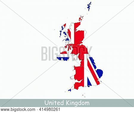 United Kingdom Flag Map. Map Of The United Kingdom Of Great Britain And Northern Ireland With The Br
