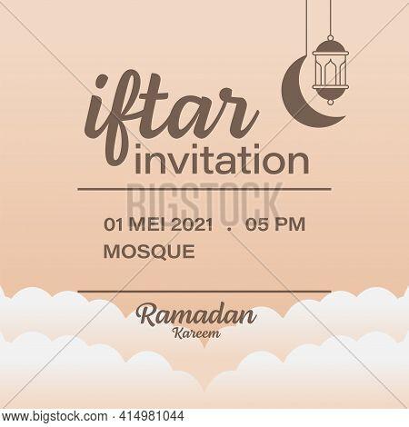 Ramadan Kareem Iftar Invitation Vector Design Template, Moon, Lantern