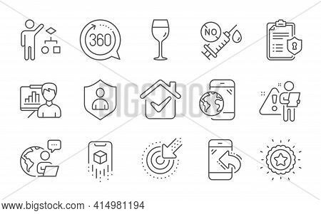 Targeting, Wine Glass And Augmented Reality Line Icons Set. Incoming Call, Security And Privacy Poli