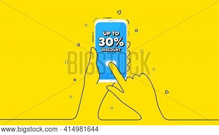 Up To 30 Percent Discount. Yellow Banner With Continuous Line. Hand Hold Phone. Sale Offer Price Sig