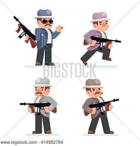 Retro Gangster Mafia Set Dangerous Criminal Submachine Gun Thug Prohibition Character Icon Flat Desi