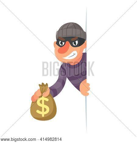 Stole Money Evil Greedily Thief Cartoon Rogue Character Bulgar Design Vector Illustration