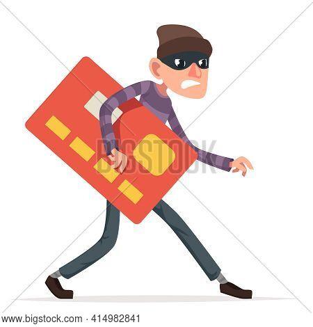 Thief Sneak Walk Credit Card Stolen Money Evil Greedily Rogue Cartoon Bulgar Character Design Isolat