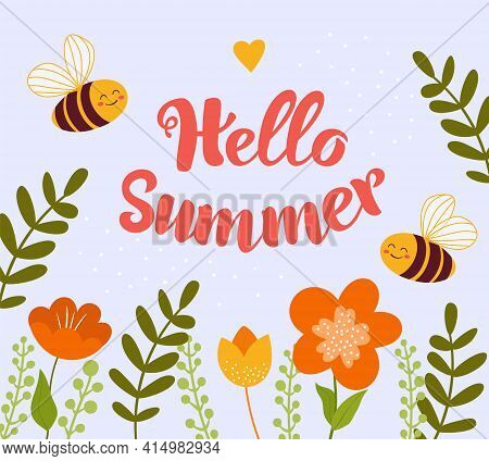 Bees Fly In Flowers And Rejoice In Summer. Vector Illustration Hello Summer