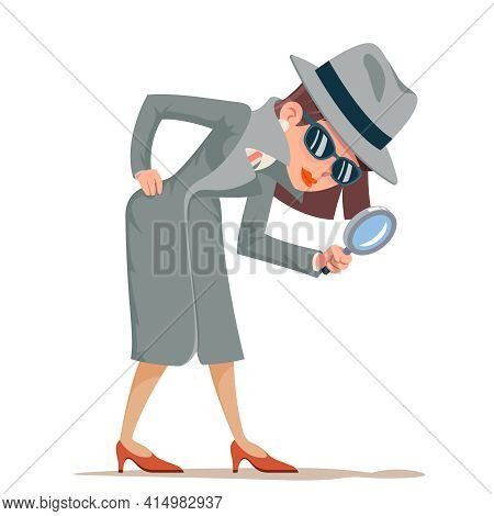 Woman Snoop Detective Magnifying Glass Tec Search Help Noir Cartoon Female Cartoon Character Isolate