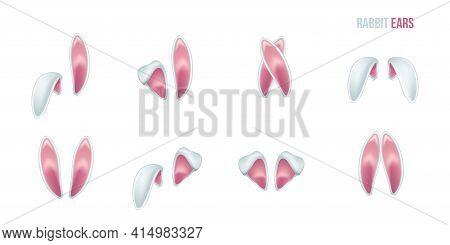 Rabbit Ears Realistic 3d Vector Illustrations Set. Easter Bunny Ears Kid Headband, Mask Collection.