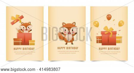 Invitation Birthday Greeting Card With A Cute Animal And Gift Box. Jungle Animals Celebrate Children