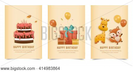 Set Banner Invitation Birthday Greeting Card With A Cute Animal And Gift Box. Jungle Animals Celebra