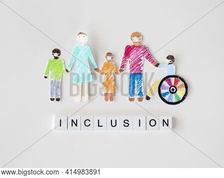 Family With Disables Person Cutout Paper Inclusion Concept. High Quality And Resolution Beautiful Ph