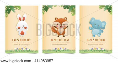 Set Banner Character Invitation Birthday Greeting Card With A Cute Animal. Jungle Animals Celebrate