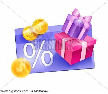 Loyalty Program, Customer Reward Gift Card Vector Illustration, Present Box, Golden Coins. Client On