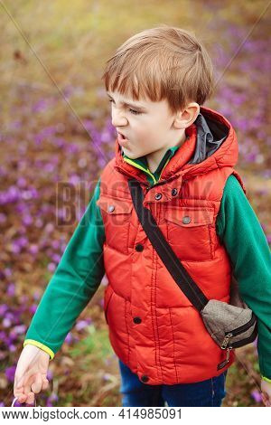 Child Behaving Bad On A Walk. Kids Tantrums, Childhood And Lifestyle Concept