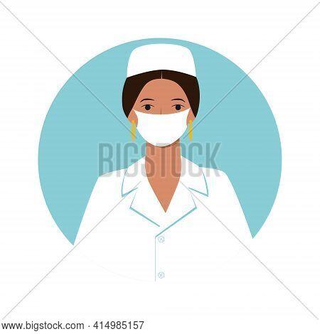 Professional Doctor Nurse Medical Specialist Avatar For Social Media Website Game. Dark Skinned Brun