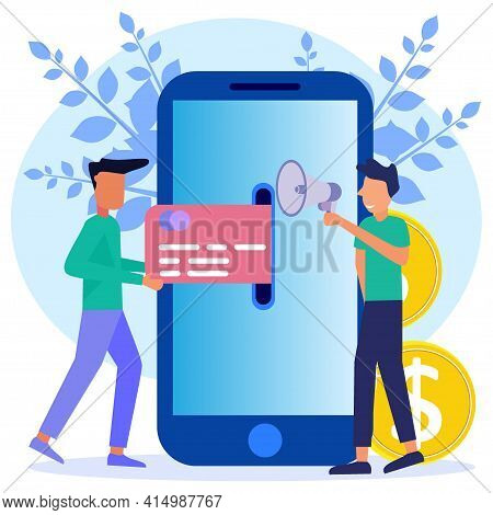 Vector Illustration Of, Financial Transactions, Non-cash Payment Transactions. Pos-terminals And Pay
