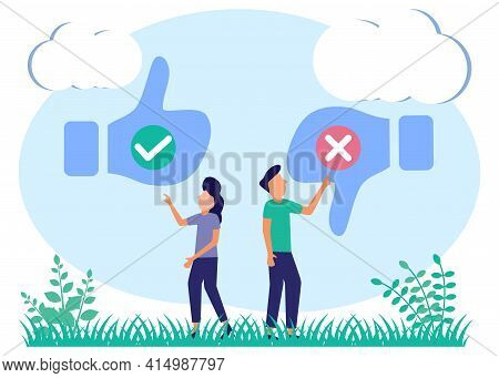 Flat Style Vector Illustration. Pros And Cons. The Choice Between Positive And Negative Arguments Fo