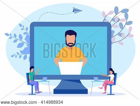 Modern Style Vector Illustration. Online Business Conference, Business People, Online Joint Meeting,
