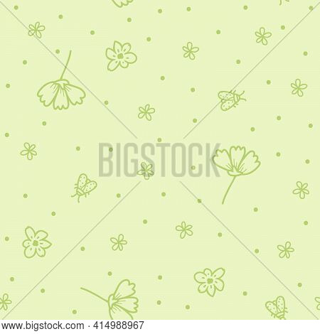 Gentle Light Green Vector Pattern With Dotted Insects And Flowers