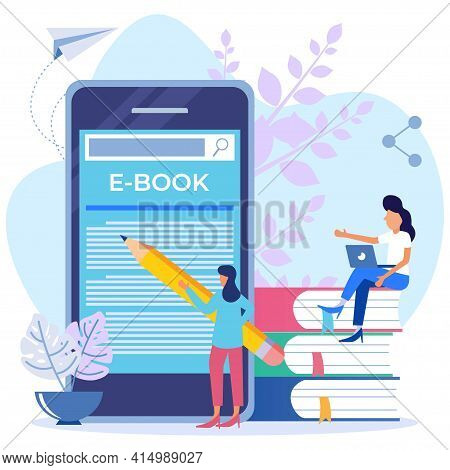 Vector Illustration Of Technology And Literature, Dictionary, Teamwork. Encyclopedia Library, E-lear