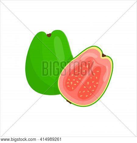 Guava, Whole Fruit And Half. Fresh Organic Food.