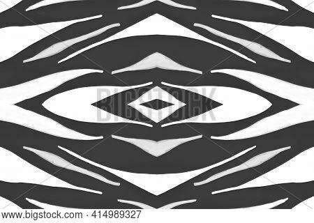 Seamless Zebra Pattern. Fashion Safari Texture. Watercolour Tiger Print. Gray Wildlife Background. W