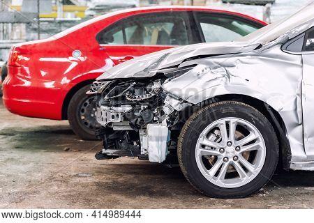 Many Wrecked Car After Traffic Accident Crash At Restore Service Maintenance Station Garage Indoor.