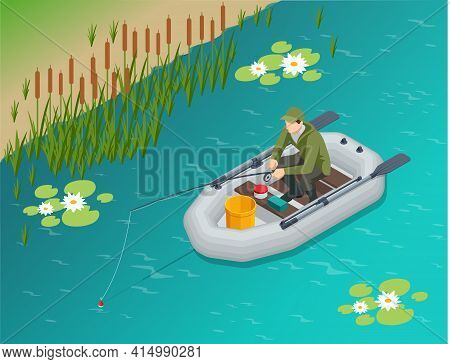 Isometric Fisherman With A Fishing Rod Sits In An Inflatable Boat And Catches Fish On A Lake Or Rive