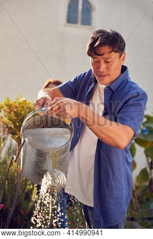 Mature Asian Couple At Work Watering And Caring For Plants In Garden At Home