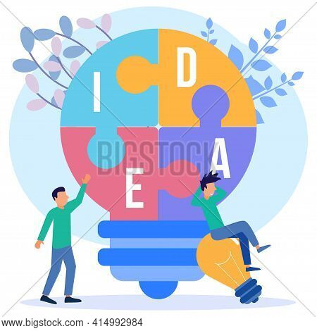 Vector Illustration Of Business Concept 2 Business People With Business Concept Puzzle Light Bulb. T