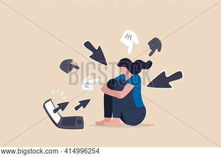Cyber Bullying, Internet Abuse Or Online Troll, Social Media Problem With Hater Comments Concept, De