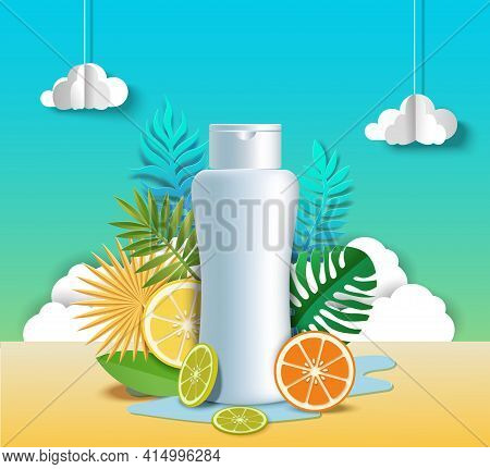 Citrus Hair Shampoo Poster Template. Citrus Cosmetic Beauty Product Advertising Mock Up, Vector Pape